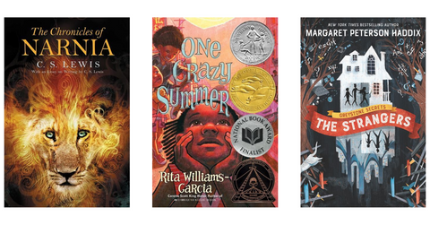 three example of children's fiction titles: the chronicles of narnia, one crazy summer, and the greystone secrets