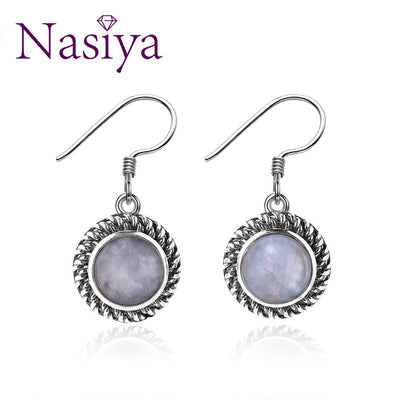 Nasiya Simple 7MM Round Moonstone 925 Sterling Silver Drop Earrings Fine Jewelry For Women Dropshipping Wholesale