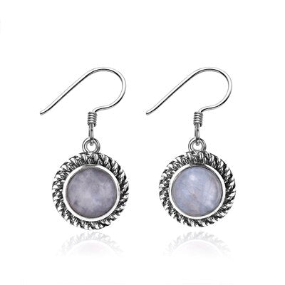 Nasiya Simple 7mm Round Moonstone 925 Sterling Silver Drop