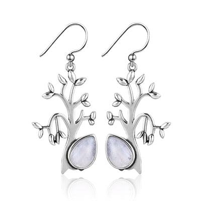 Sweet Tree Shape Natural Moonstone Drop Earrings For Women Solid 925 Silver Jewelry Party Wedding Daily Life Birthday Gift