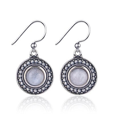 Ethnic Style Natural Round Moonstone 925 Sterling Silver