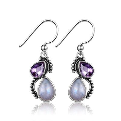 Nasiya Natural Water Drop Moonstone With Purple Zircon 925