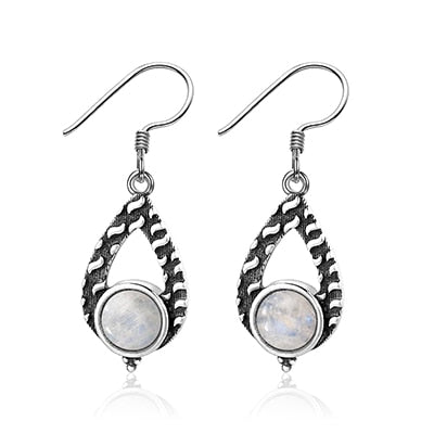 Women's 925 Sterling Silver Earrings 7mm Round Natural