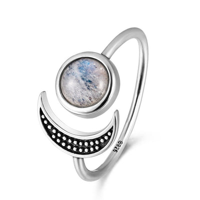 Nasiya Sweet Romantic Moon Adjustable Rings With Natural