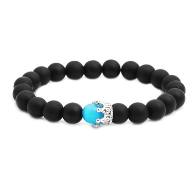 trendy Men's pink blue Natural Stone Bracelet couple Black Beads Bracelet moonStone Crown bead Bracelet Jewelry for Men