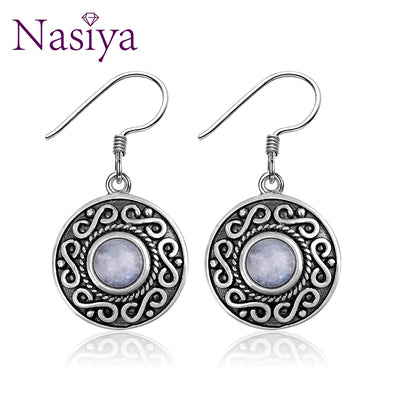 Nasiya Vintage Ethnic Style Round Waterdrop Moonstone 925 Sterling Silver Drop Earrings Women Jewelry Gift Dropshipping