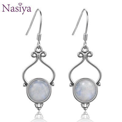 Romantic Women's Engagement Moonstone Drop Earrings Classic