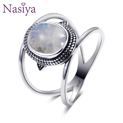 Nasiya Newest Luxury Oval Natural Moonstone Rings For Men
