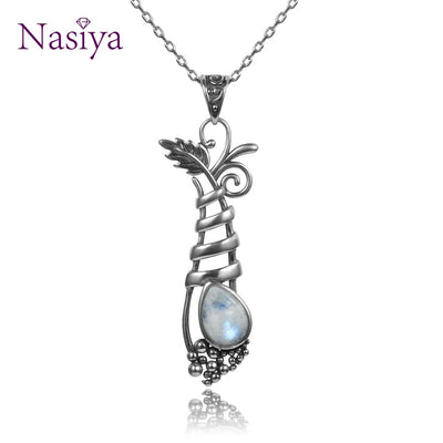 Vintage Silver 925 jewelry Pendant Necklace Women's Customized Fansy Grape Plant Shape Natural Moonstone Long Pendants Gifts