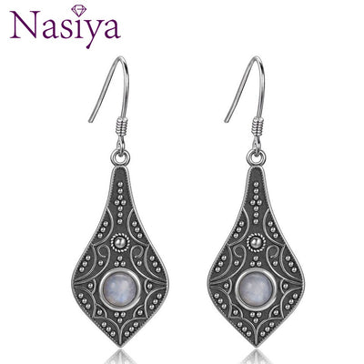Ethnic Style 5MM Round Natural Moonstone 925 Sterling Silver Long Drop Jewelry Earrings  For Women Trendy Wedding Party