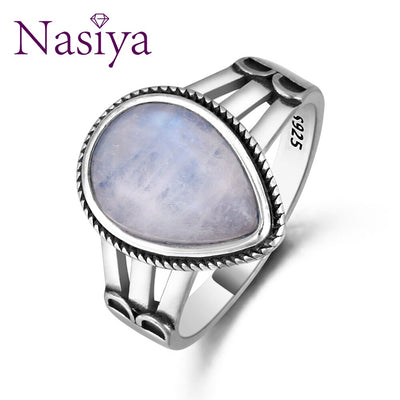 New Design Punk Moonstone Ring For Women 925 Silver Fine Jewelry Party Anniversary Wedding  Engagement Birthday Gift