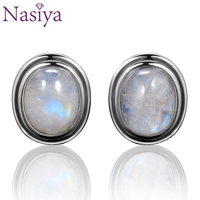 Oval Natural 8x10MM Moonstone 925 Sterling Silver Stud For Women Vintage Jewelry Engagement Party Anniversary Gift Wholesale