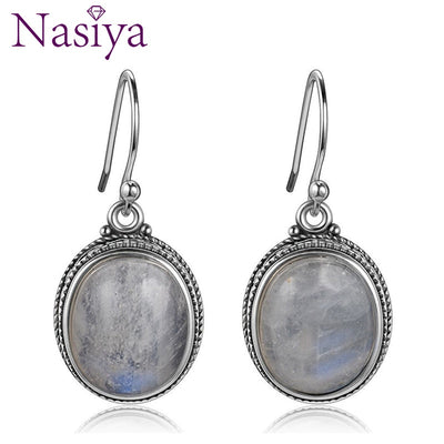 Nasiya Vintage Oval Natural Moonstone Drop Earrings For