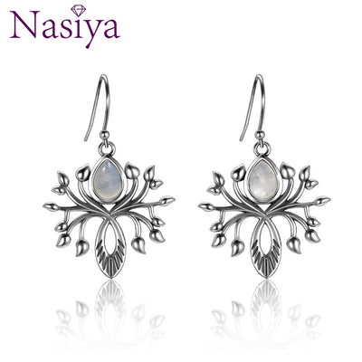Fashion Water Drop Natural Moonstone Drop Earrings Jewelry