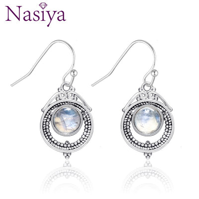 Nasiy Natural Moonstone Drop Earrings For Women Vintage Type