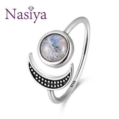 Nasiya Sweet Romantic Moon Adjustable Rings With Natural Moonstone For Women 925 Sterling Silver Fine Jewelry Mother's Day Gift