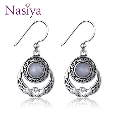 Nasiya Hands And Hearts Earrings With Natural Moonstone 925 Sterling Silver Women Jewelry For Party Wedding Birthday Daily Life