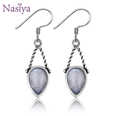 Nasiya Simple Water Drop Shape With 6x9mm Moonstone 925
