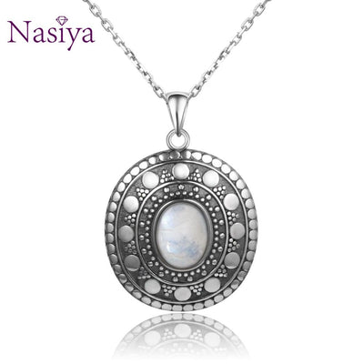 New Style 925 Silver Moonstone Pendants Necklaces For Women