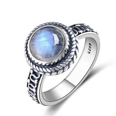 New Fashion 9MM Round Natural Moonstones Rings Women's 925 Silver Jewelry Ring Wholesale High Quality Gifts Vintage Fine