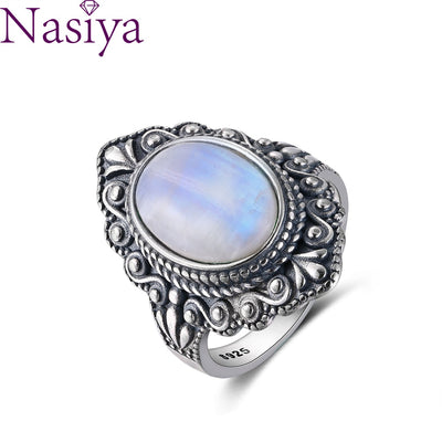 Nasiya Vintage Oval Natural Moonstone Rings For Women 925 Sterling Silver Ring Jewelry Finger Ring Gemstone Rings Party Gift