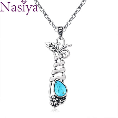 Vintage S925 Sterling Silver Jewelry Pendant Necklace Women's Fansy Grape Plant Shape Natural Turquoise Long Pendants Gifts