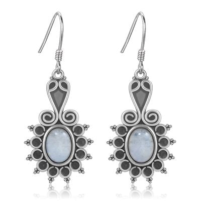 New Style Oval Ethnic Flower Moonstone Women's 925 Sterling