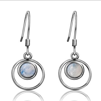 Simple Round Natural Moonstone Hook  Earrings For Women 925 Sterling Silver Jewelry Wedding Engagement Daily Life Holiday