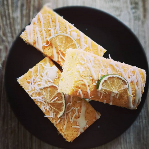 LIME AND COCONUT BLONDIES