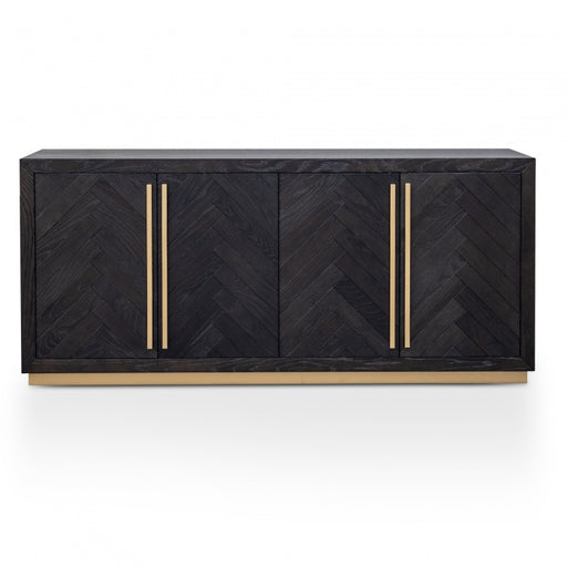 Black Herringbone Sideboard with Brass Detailing