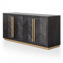 Load image into Gallery viewer, Black Herringbone Sideboard with Brass Detailing
