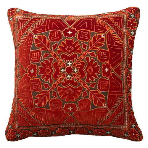 Splendour Cushion - Patterned Red Cushion