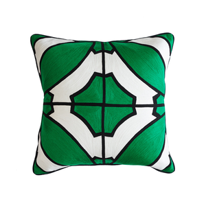 Splendour Cushion - Patterned Green and Black Cushion