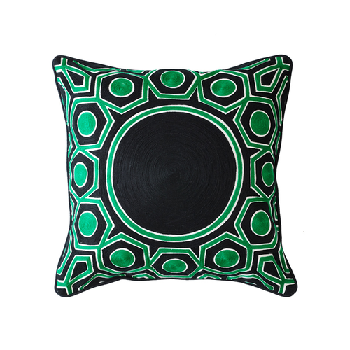 Splendour Cushion - Patterned Green and Black 2 Cushion