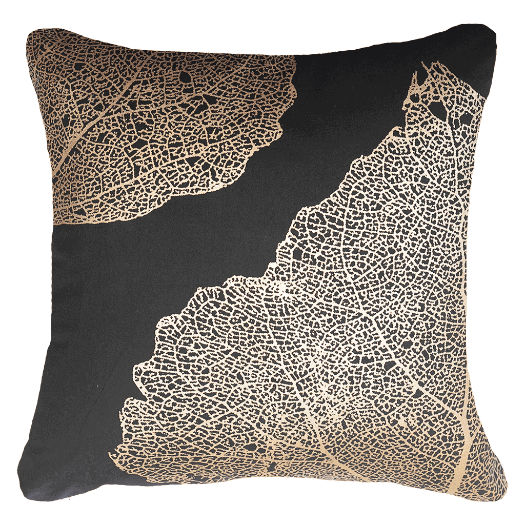 Splendour Cushion - Black and Gold Linen Cushion