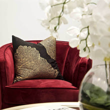 Load image into Gallery viewer, Splendour Cushion - Black and Gold Linen Cushion