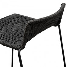 Load image into Gallery viewer, Woven Bar Stool with Matte Black Iron Legs