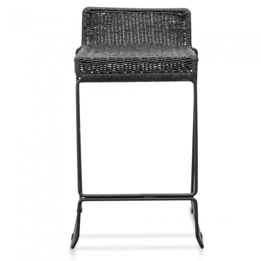 Woven Bar Stool with Matte Black Iron Legs