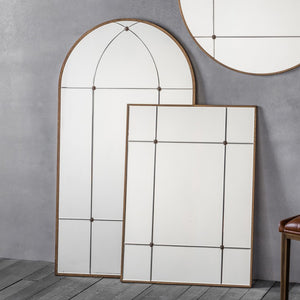 Arched Brass Framed Mirror