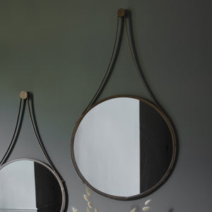 Round Leather Hanging Decor Mirror