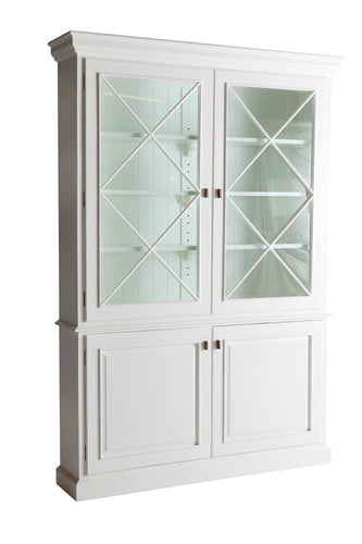 Hamptons White Glass Cabinet