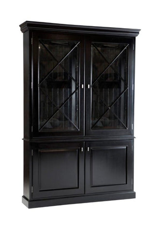 Hamptons Black Glass Cabinet