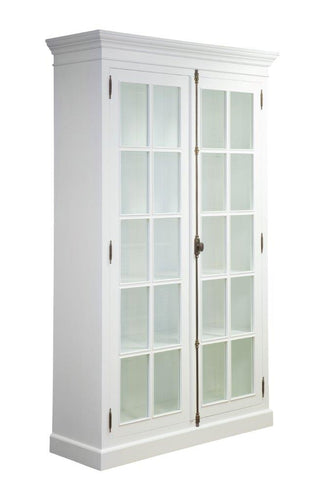 Hamptons White Full Length Glass Bookcase