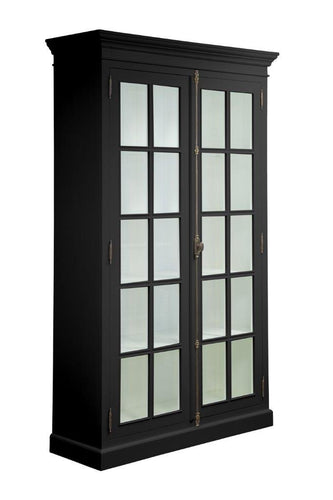 Hamptons Black Full Length Glass Bookcase
