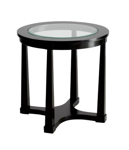 Hamptons Black Glass Side Table