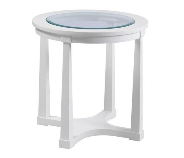 Hamptons White Glass Side Table