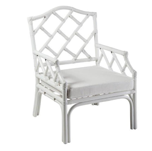 Hamptons White Rattan Occasional Chair