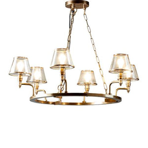 Sienna Glass Chandelier 6 Arms in Brass