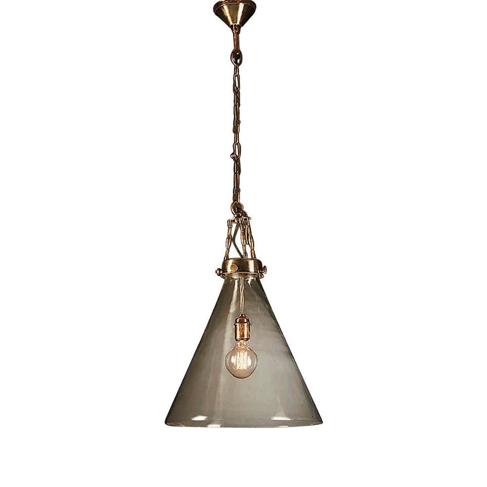 Gadsden Small Glass Hanging Lamp in Brass
