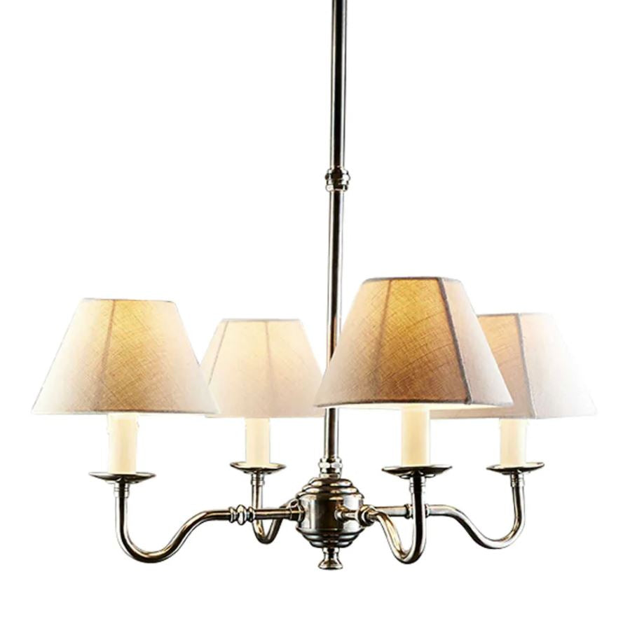 Milton Chandelier with 4 Arms in Antique Silver